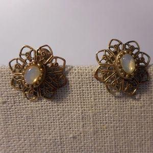 Vintage Moon Glow Filigree Floret Clip Earrings
